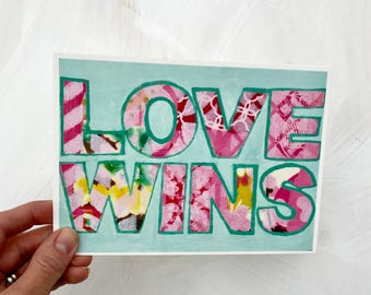 Love Wins 5x7 Handlettered Mixed Media Art Print Gifts For Him Gifts for Her Gifts for Couples for Valentine's