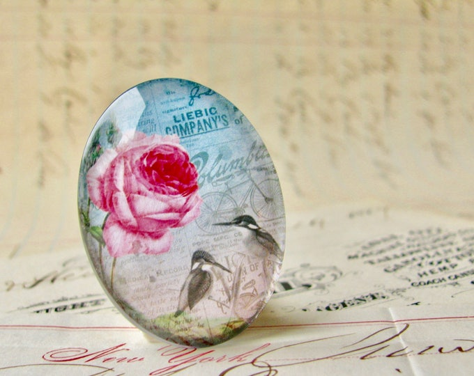Pink roses with birds, handmade glass oval cabochon from our Fabulous Florals collection, vintage flowers image 25x18mm 18x25mm