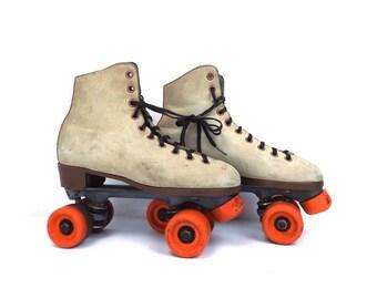 vintage 70s 80s roller skates size 6 men skating rink derby disco retro rental shoes laceups orange wheels costume party rollerskate working