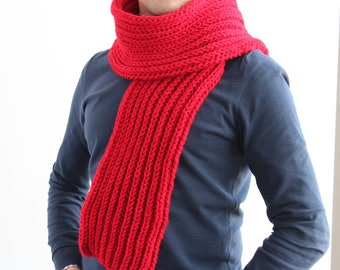 Red knitted scarf for men, Red scarf, Mens knit scarf in red