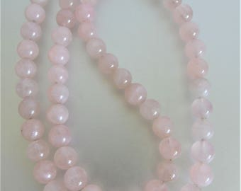 Vintage Genuine Rose Quartz Gemstone Bead Necklace