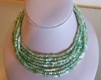 ON SALE Beautiful Vintage Pale Aqua Blue Satin Glass Necklace