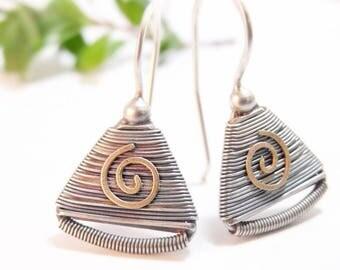 Sterling Silver Earrings, Dangle Earrings, Wire Wrap Earrings, Tribal Earrings, Handmade Swirl Earrings with 14k Gold Accents, Holiday Gift