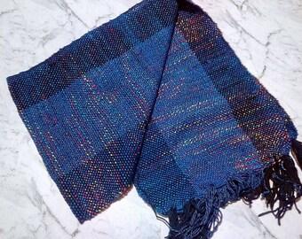 rainbow scarf opal handwoven tabby weave
