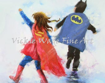 Super Hero Art Print, brother & sister, super hero kids, super hero boy and girl,  super hero capes, Vickie Wade Art