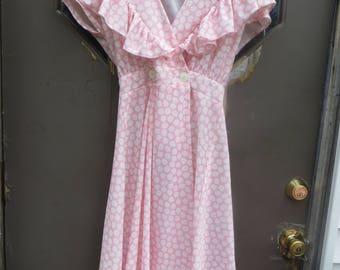 1980s pink with white flowers Avon Fashions dress  sz  9/10