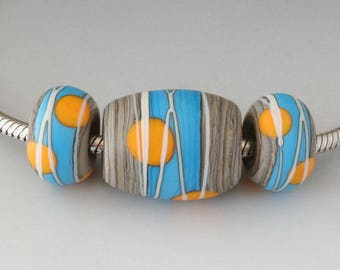 Southwest BHB Set - (3) Handmade Lampwork Beads - Streaky Gray Brown, Turquoise, Yellow- Etched, Matte