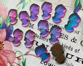 Vintage Iridescent Cameos Head cabochons, peacock cameos,color shift cameos, Chameleon Cameos,Purple,blue Cameos NOS Lady #870