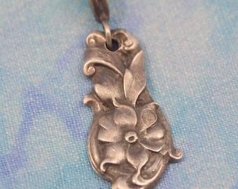 Sterling Silver Spoon handle Rose Pendant