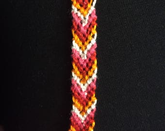 Chevron Style Friendship Bracelet Woven Handmade Arrow Hot Pink Orange Red White - Limited Edition
