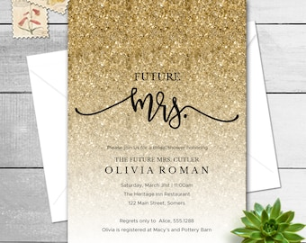 Future Mrs. Glitter Bridal Shower Invitation, Hand Lettered Script Mrs., Gold Glitter, Printable Digital Invitation 9181