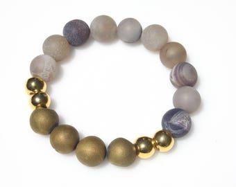 Druzy Stone Stretch Bracelet - Stretch Bracelet - Gemstone Bracelet - Real Druzy Stone Bracelet - Everyday Bracelet - Beaded Bracelet