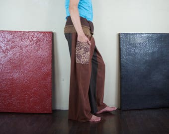 The Most Comfortable Pants Ever ...Thai Fishermen Pants Patched Stonewashed Medium Weight Dusty Copper Brown Cotton Pants