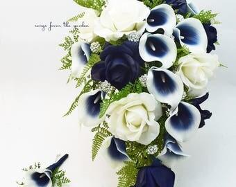 Navy Blau Und Weiss Blumenstrauss