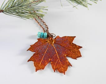 "Copper Sugar Maple Leaf Pendant on 32"" Long Chain"