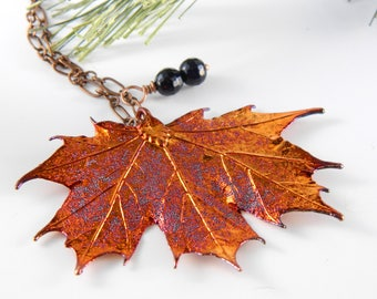 Iridescent Copper Plated Real Maple Leaf Pendant, 18 inch necklace