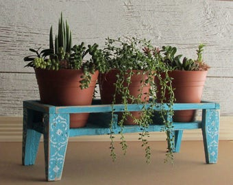 plant stand with planters - Tropical decor - table top plant stand - reclaimed wood crate