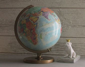 Vintage Replogle World Globe - 12 inch - World Nation Series - relief - metal base- Home or Office Décor