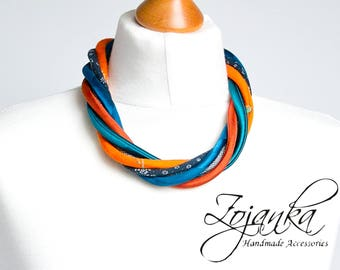 Statement necklace, textile necklace, fabric jewelry, fashion gift ideas, simple jewelry, autumn accessories, multi strand textile necklace