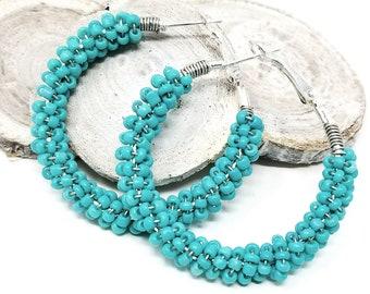 Turquoise Beaded Hoop Earrings, Boho Inspired Gypsy Earrings, ChristalDreamz, Turquoise Seed Bead Earrings, Large Hoop Earrings, Beachware