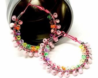 Boho Hippie Earrings, Beaded Hoop Earrings, Pastel Rainbow Hoop Earrings, Gifts for Her, Sweet 16 Ideas, ChristalDreamz, Summer Hoops