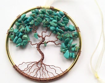 Turquoise Gemstone Tree of Life/  Window or Wall Ornament/  Gift Idea for Her/ Housewarming Gift/ December Birthstone/ December Birthday
