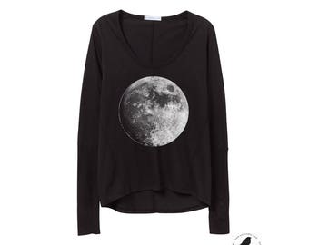 Womens Cotton long Sleeve Moon Shirt - Satin Jersey - Alternative Apparel - Womens Clothing - Moons