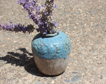 Stoneware Weed Pot Studio Pottery Signed - Cerulean Moroccan Cornflower Blue - Small Vase