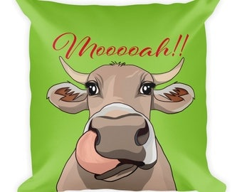 Cow Pillow Mooooah - Silly Farm Animal Gift - Christmas Birthday Gift for Girlfriend Boyfriend, Graduation - Funny Cow Quote Cushion