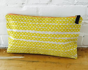 Golden Rod Deco Dot clutch, Ready To Ship Now