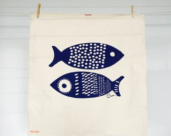 Navy Double Tuna Tea Towel - READY TO SHIP
