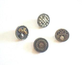 Steel Cut Buttons Lot x 4 Victorian 1800s