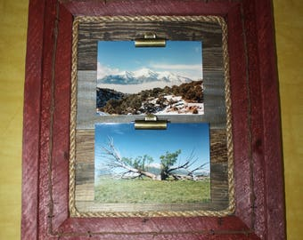 Rustic Picture Frame-Clip Board Photo Display-Collage-Rustic Wood Note Holder-Wood Frame-Barbed Wire-RopeHolds 2 Pictures