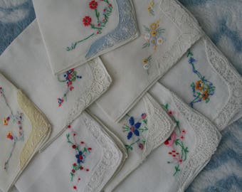 Vintage Hankies with Lace and Embroidery Lot
