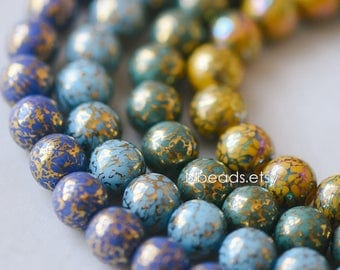 Crystal Glass Smooth Round Beads 10mm, Plated with Metal Colors (GM-029)/ 35 beads