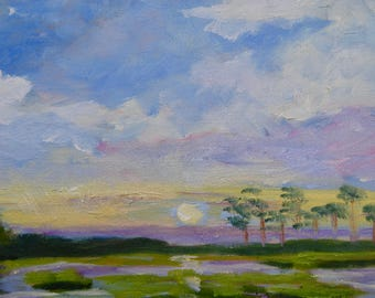 Modern Impressionist Marsh Landscape South Carolina Sunset Original Oil Painting by Rebecca Croft