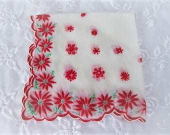 Vintage Christmas Handkerchief, Ladies Nylon Holiday Hankie with Poinsettias, ECS, FREE Shipping