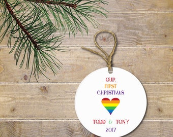 Christmas Ornament, First Christmas Ornament, Lgbtq Christmas Ornament, Gay pride, Gay Christmas Ornament, rainbow pride, rainbow, Bi pride