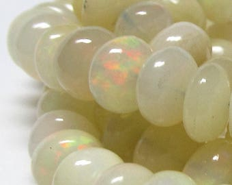 African Iridescent Opal Beads 8 x 4mm Smooth Fire Charged Rondelle Beads - 4 inch Strand
