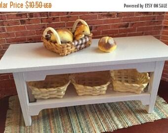 SALE Miniature White Side Table with Baskets and Bottom Shelf, Dollhouse Miniature Furniture, 1:12 Scale, Mini White Table, Dollhouse Access