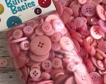 """SALE Pink Mauve Buttons, Assorted Packaged Round Buttons, """"Blush"""" shades of Pink Mauve, 5 Oz Package, #BCB107 by Buttons Galore, 2 and 4 Hol"""