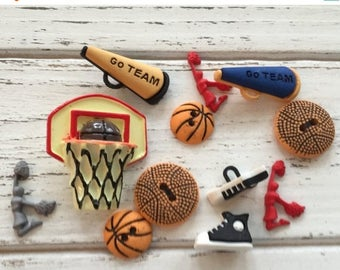"SALE Basketball Buttons, Packaged Novelty Buttons,  ""Hoop It Up"" Style #4064 by Buttons Galore, Net, Ball Cheerleader Shoes, Sewing, Crafts"