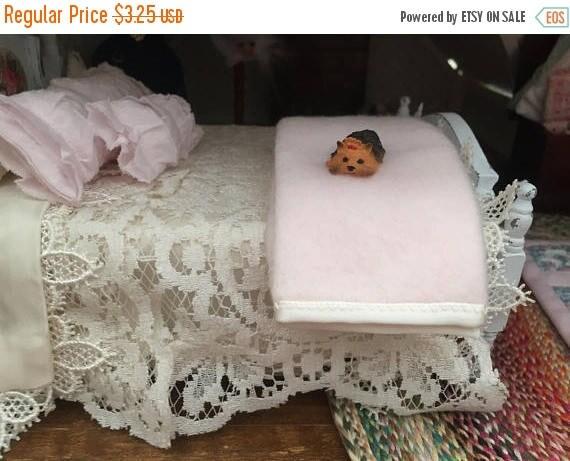 "ON SALE Miniature Pink Blanket With Cream Satin Trim, Dollhouse Miniatures, 1:12 Scale, Dollhouse Accessory 8""x6"" Mini Blanket"