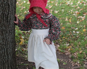 Girl's Simple Pioneer Dress w/ Half Apron and Bonnet Size 3/4 -Ready to Ship