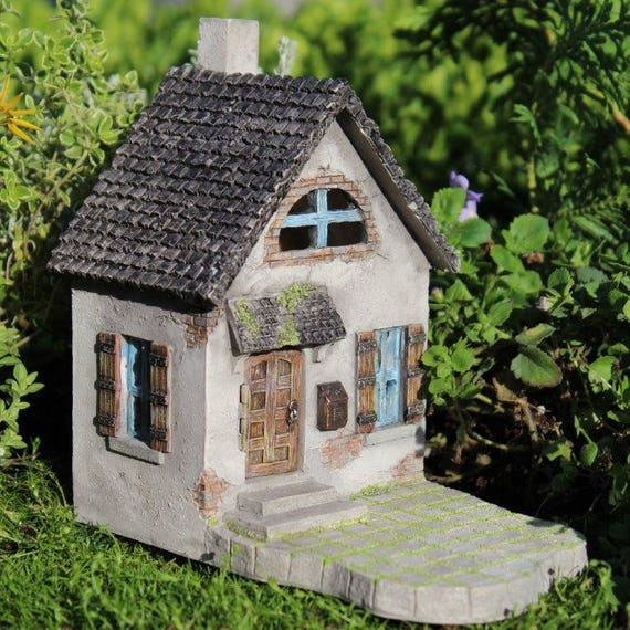 "Mini Hollybrook 5.75"" Tall House with Hinged Door and Front Porch for the Fairy Garden"