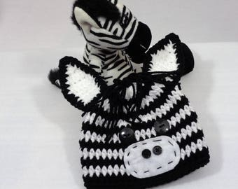 Zebra Baby Hat, Halloween Zoo Animal Hat, Crochet Black and White Baby Beanie with Ears MADE TO ORDER by Charlene, Gift for Baby, Photo Prop