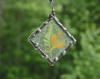 Pressed flower jewelry pendant necklace, stained glass necklace, fern leaves nature inspired necklace gift under 30, yellow green