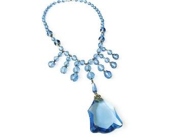 Art Deco Glass Bead Fringe Necklace - Sapphire Blue, Glass Beads, Vintage Bride, Art Deco Jewelry, Antique Necklace
