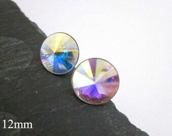 Crystal Posts -- AB Crystal Earrings -- Rainbow Studs -- Large Posts -- AB Studs -- Aurora Borealis Swarovski Earrings -- AB Crystal Posts