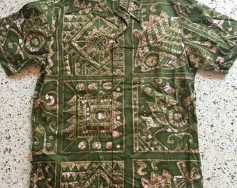 1950's Hawaiian Shirt / Kahala for Ross Sutherland / Novelty Printed Hawaii Shirt / Button Up shirt / Cotton Shirt / Green and Pink